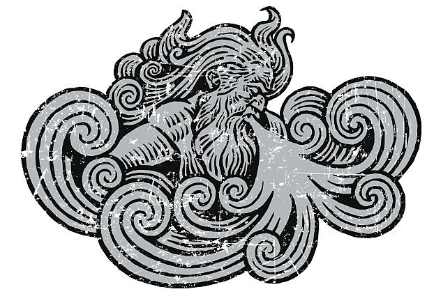 """Winter or Wind Storm Grunge Graphic Woodcut grunge style illustration of """"Old Man Winter"""" blowing freezing air or Greek God Aeolus blowing the wind. Layered, use with or without the texture. Check out my """"Winter Wonderland"""" light box for more. god stock illustrations"""