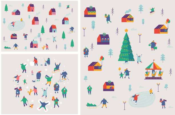 Winter outdoor activities vector set. Winter season background people characters. People have fun. Flat vector illustration. christmas family stock illustrations