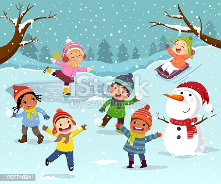 istock Winter outdoor activities with kids and snowman. Children playing snowballs, sledding and ice skating outdoor in winter. 1202746941
