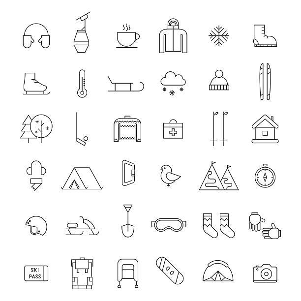 winter outdoor-aktivität und sport-icon-set - funktionsjacke stock-grafiken, -clipart, -cartoons und -symbole