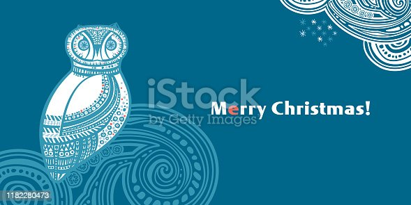 Winter Owl. Merry Christmas! Vector illustration.