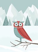 A textured illustration of an owl in a winter scene. All elements on separate layers. Perfect for a holiday card.
