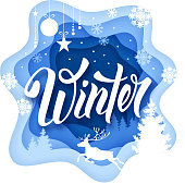 Paper art carving style design with hand drawn word Winter and winters seasonal elements. Vector illustration.