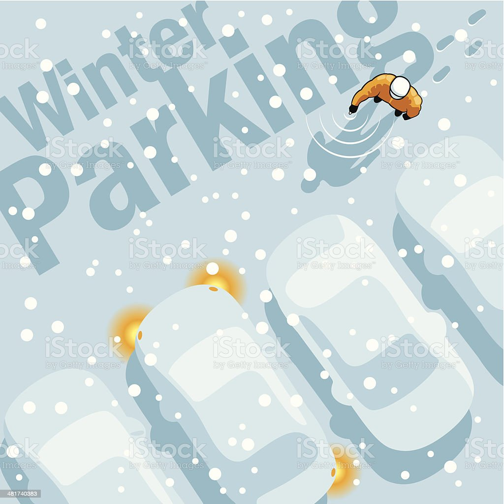 Winter Parking vector art illustration