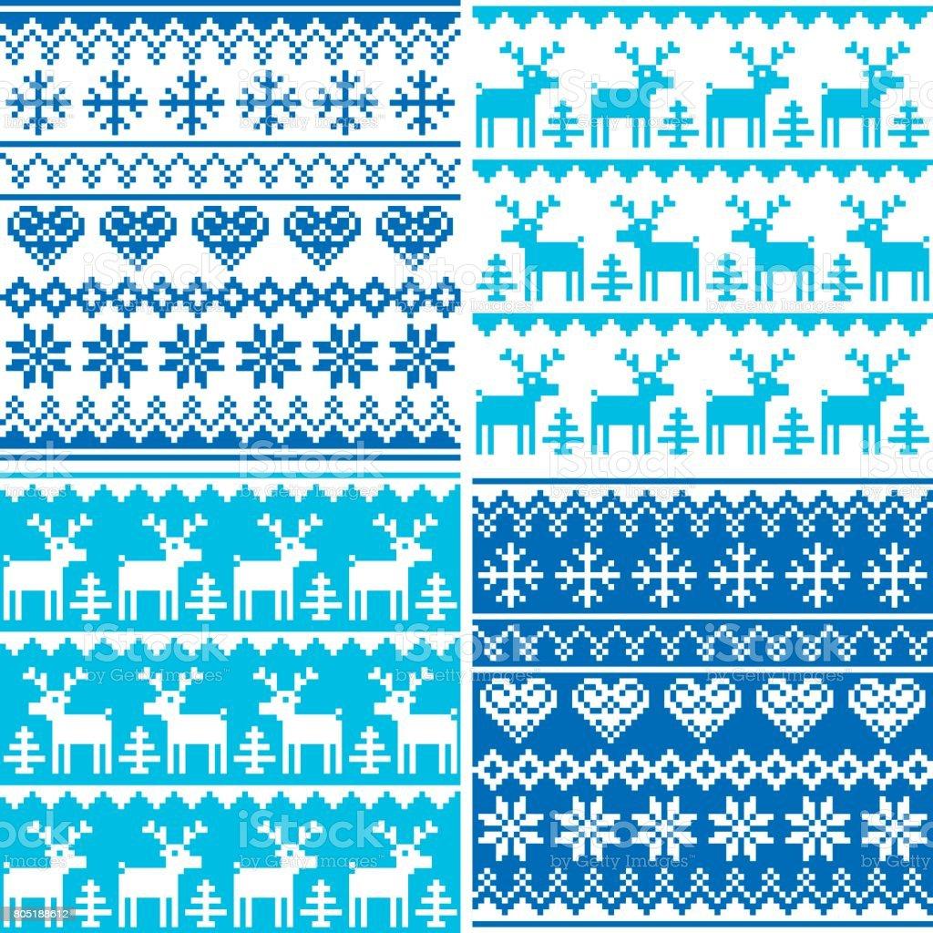 Patrón de invierno cruz puntada colección, invierno diseño conjunto, feo estilo de puente de Navidad - ilustración de arte vectorial