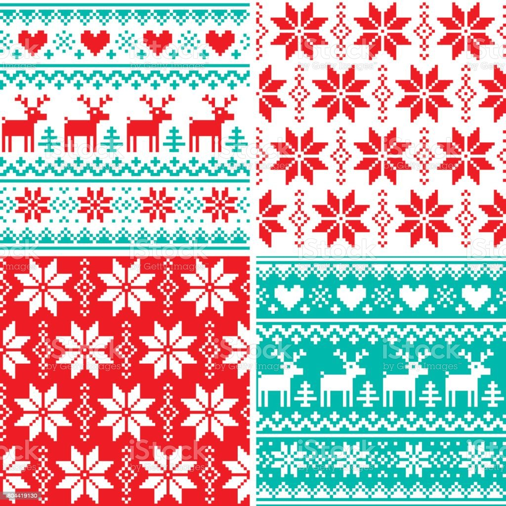 Winter pattern set, Christmas seamless design collection, ugly Xmas jumper style vector art illustration
