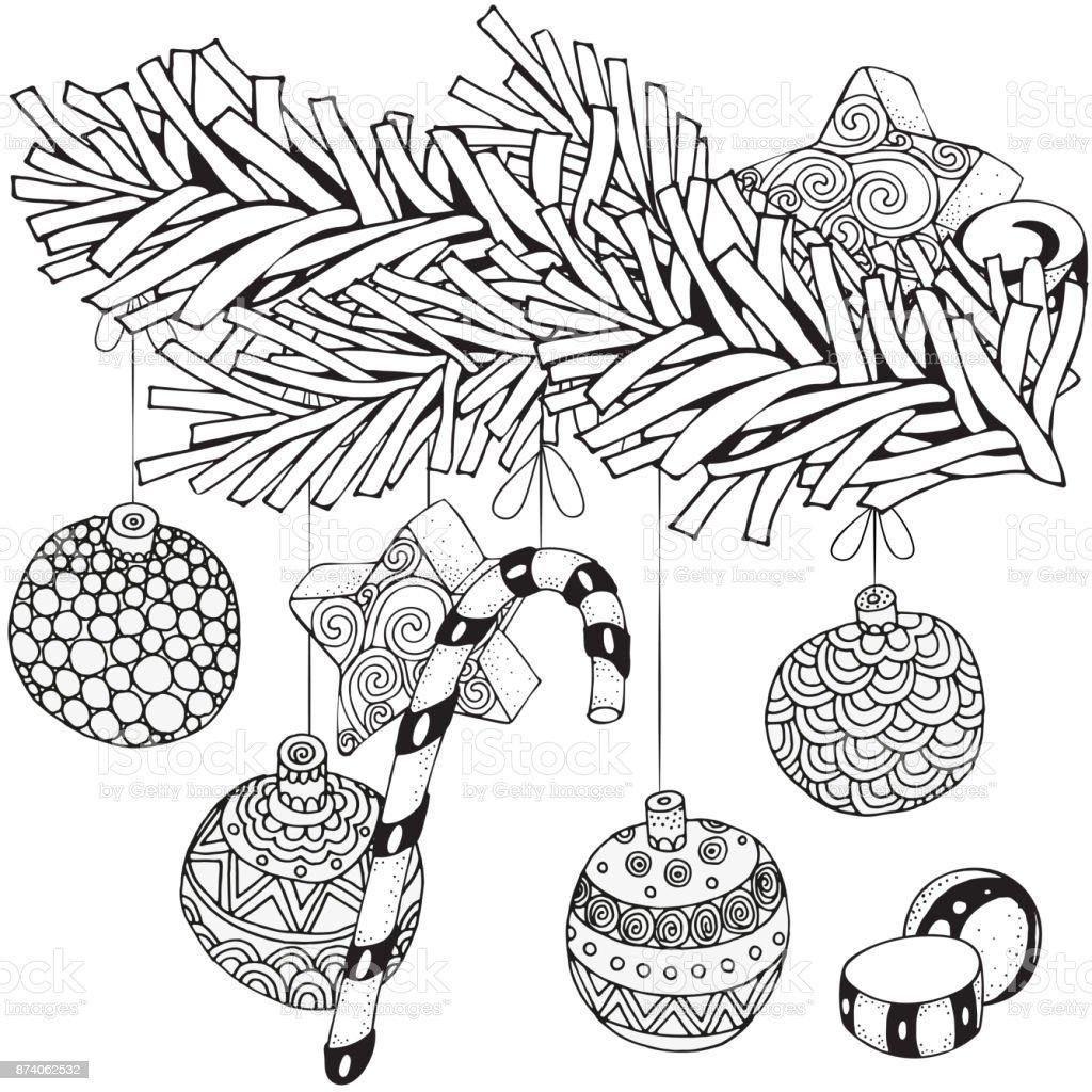Noel Ağacı Dalı Ve Noel Dekorasyonu Ile Kış Desen Dekoratif