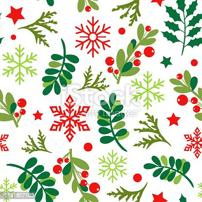 Vector illustration of the winter pattern with holly berries. For wallpaper, pattern fills.