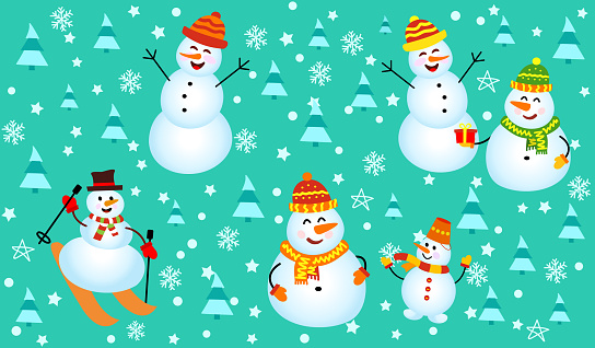 Winter pattern with snowmen, snowflakes and christmas trees.