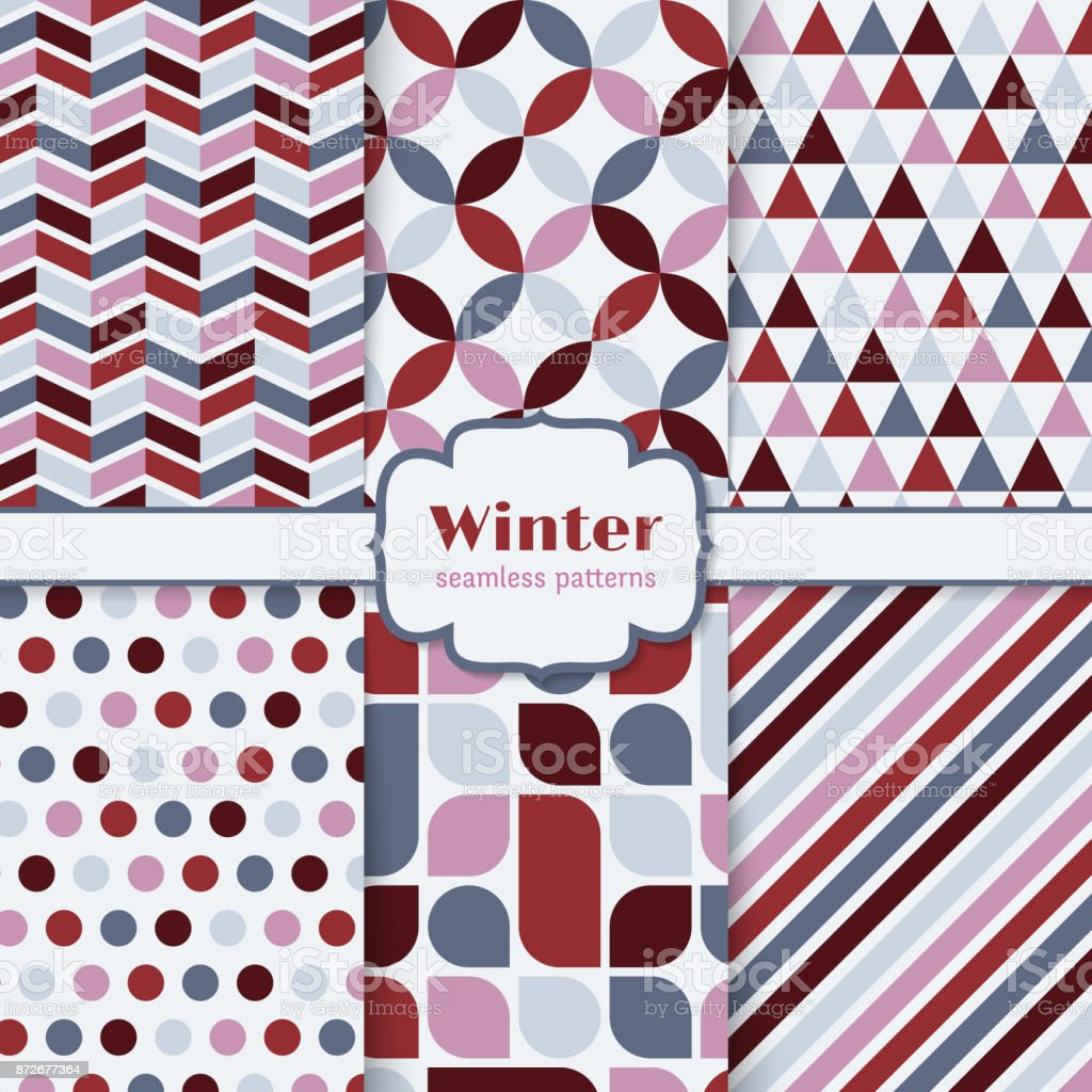 Winter patterns set vector art illustration