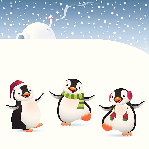 winter penguins - pinguin stock-grafiken, -clipart, -cartoons und -symbole