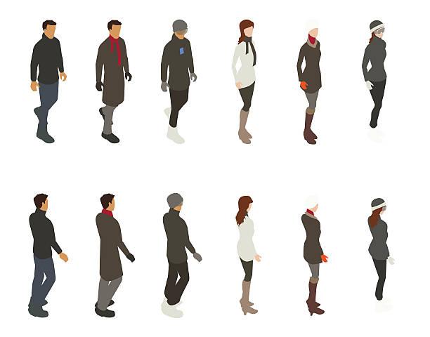 winter people illustration - parkas stock-grafiken, -clipart, -cartoons und -symbole