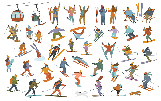 winter people, men women children downhill skiing, snowboarding, cross-country skiers, skijoring, jumping, snowshoeing, having party at resort cartoon vector illustration scenes set