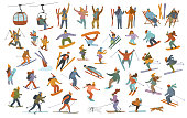 collection of winter people, men women children downhill skiing, snowboarding, cross-country skiers, skijoring, jumping, snowshoeing, having party at resort cartoon vector illustration scenes set