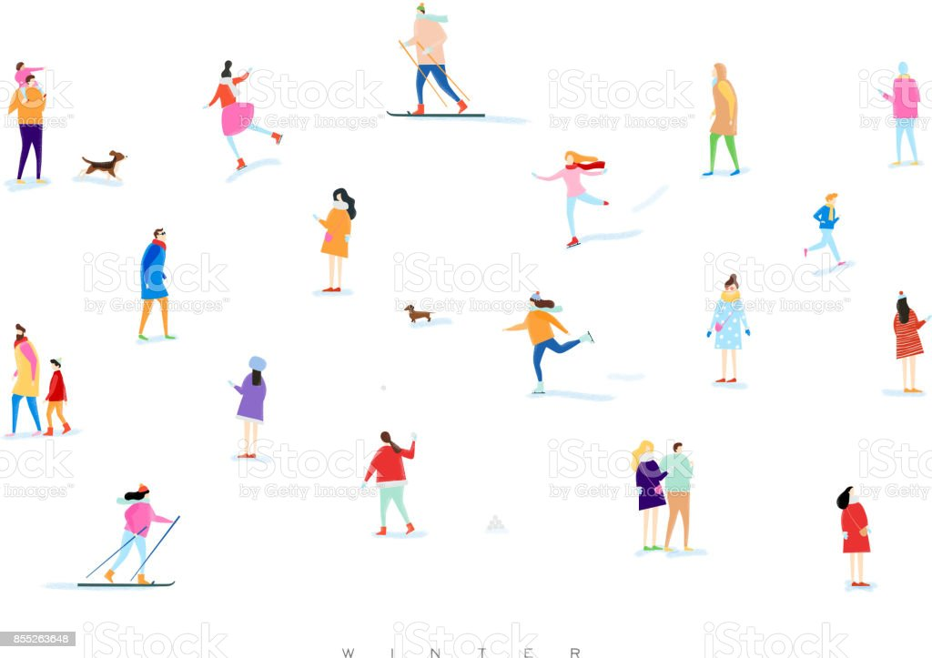 Winter people vector art illustration