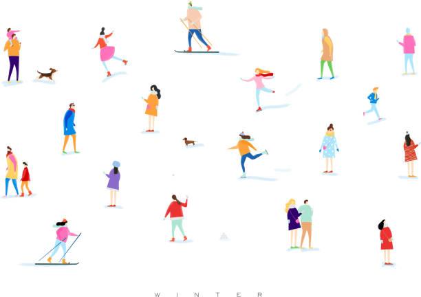 ilustraciones, imágenes clip art, dibujos animados e iconos de stock de de invierno personas - vacaciones familiares