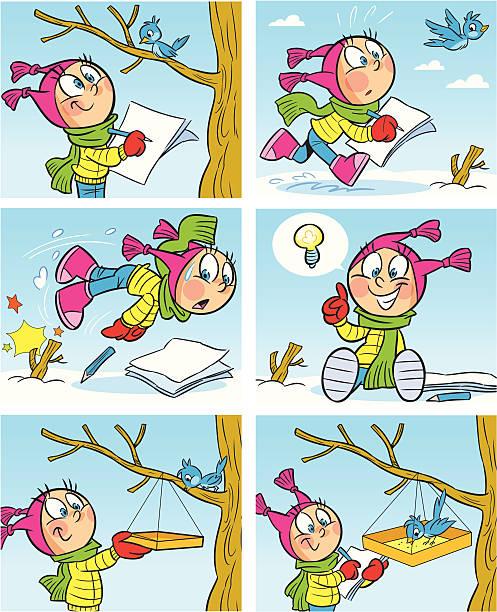 Winter picture vector art illustration