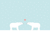 Winter Polar bears vector illustration