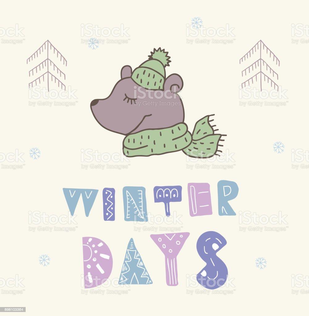 Winterpostkarte Mit Zitate Und Sprüche Lustiger Bär Stock