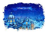 Winter Prague cityscape. Vector watercolor illustration.