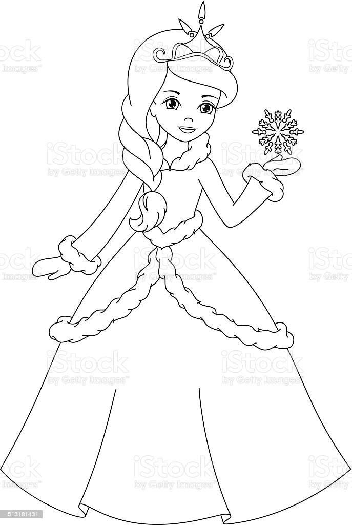 Winter Princess Coloring Page Stock Illustration - Download Image Now -  IStock