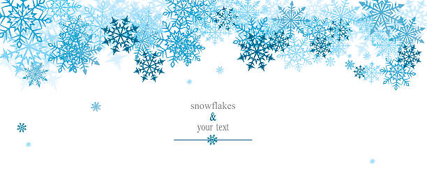 winter print with blue snowflakes vector art illustration