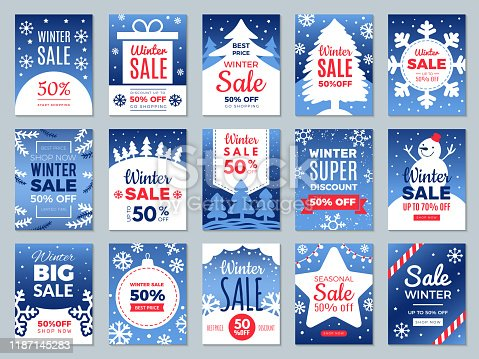 istock Winter promo cards. Season offers advertising banners labels for best price promotional vector template 1187145283