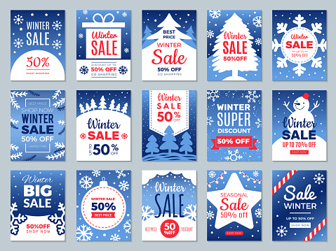 Winter promo cards. Season offers advertising banners labels for best price promotional vector template