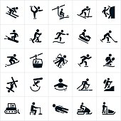 Icons representing popular winter recreational activities. The icons include snow skiing, snow skiers, snowboarding, ice skating, cross country skiing, ice climbing, snowshoeing, tubing, ice hockey, speed skating, ice plunge, hiking, snowcat, ice fishing, sledding, snowmobiling and snow sledding.