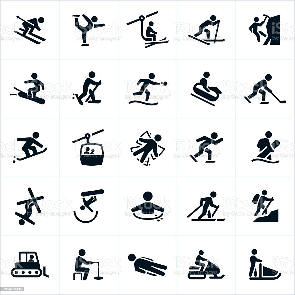 Winter Recreation Activities Icons vector art illustration
