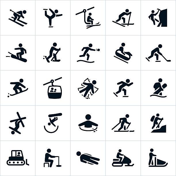 illustrations, cliparts, dessins animés et icônes de icônes de loisirs et activités d'hiver - ski