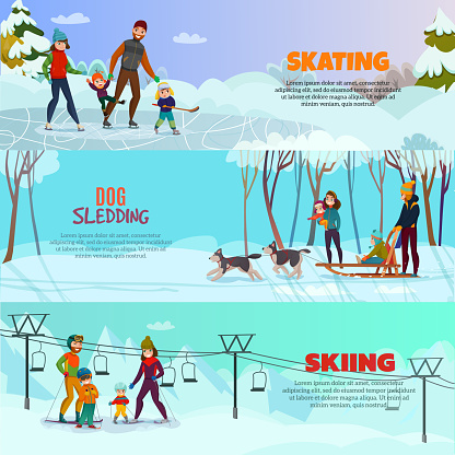 winter recreation family banners