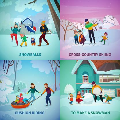 winter recreation family concept