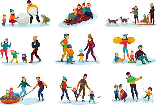 winter recreation family set