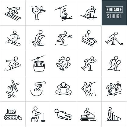 Winter Recreation Thin Line Icons - Editable Stroke