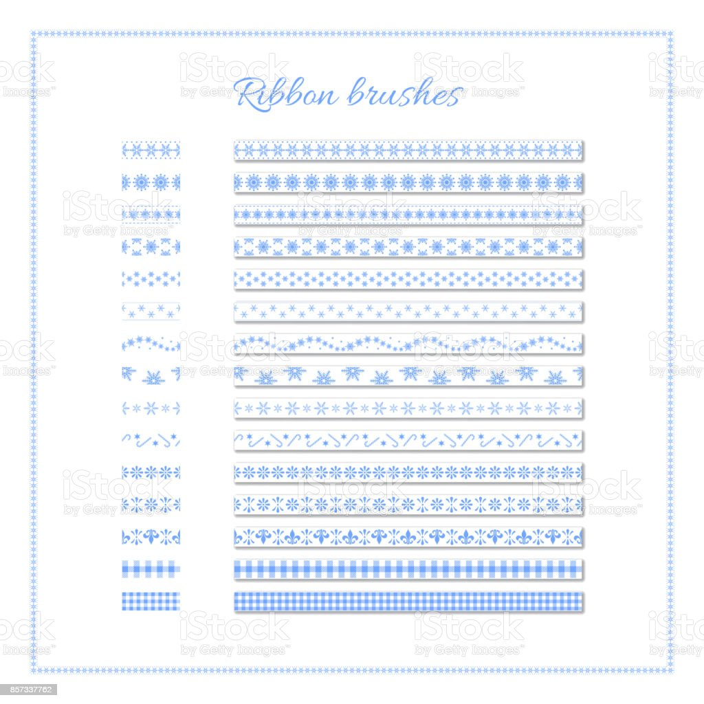 Winter ribbon brushes. Set of white decorative ribbons with blue elements. Vector Christmas or New Year design element. vector art illustration