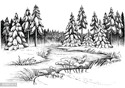 Winter River Under Ice And Conifer Forest Vector Drawing
