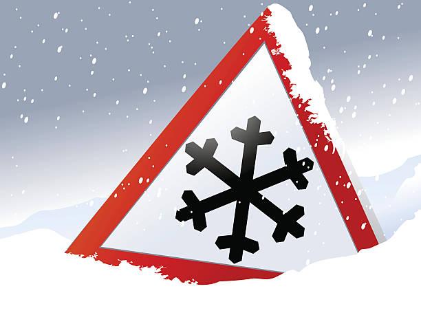 ilustrações de stock, clip art, desenhos animados e ícones de sinal de estrada de inverno - driveway, no people