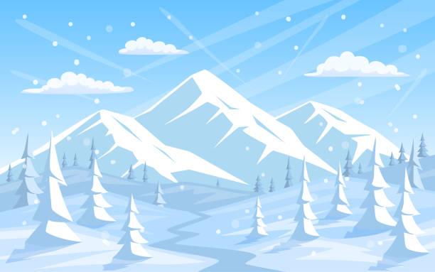 bildbanksillustrationer, clip art samt tecknat material och ikoner med vinter klippiga bergen xmas semester gott nytt år hälsning landskap bakgrund - snötäckt