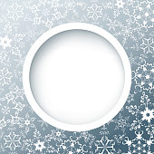 Winter round frame with snowflakes