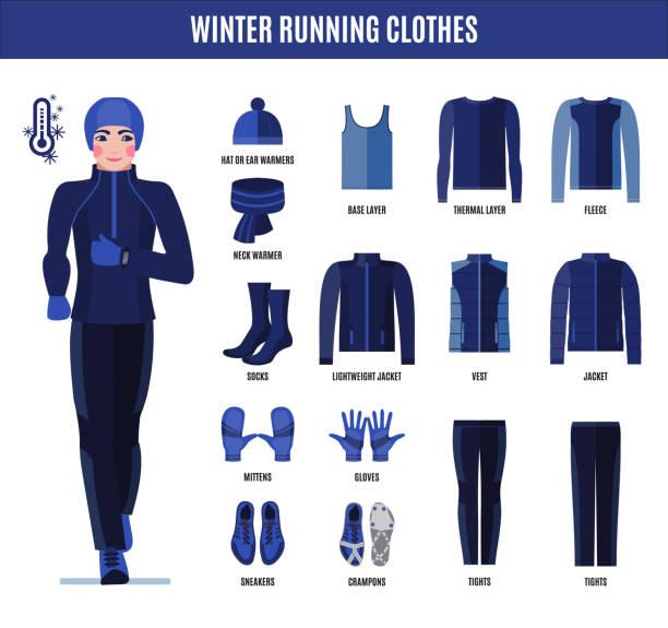 laufenden winterkleidung festgelegt für mann in flachen stil. - funktionsjacke stock-grafiken, -clipart, -cartoons und -symbole