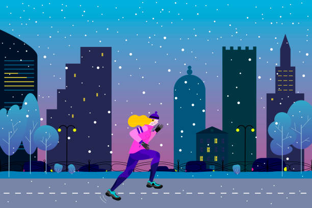 ilustrações de stock, clip art, desenhos animados e ícones de winter running concept. young athletic woman doing jogging in winter colored city. vector illustration in flat style - young woman running city