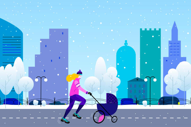 ilustrações de stock, clip art, desenhos animados e ícones de winter running concept. young athletic woman with stroller doing jogging in winter colored city park in flat style - young woman running city