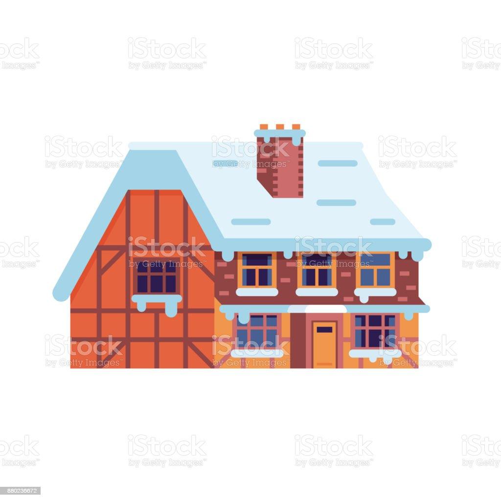 Winter Landhaus Mit Kamin Lizenzfreies Winterlandhaus Mit Kamin Stock  Vektor Art Und Mehr Bilder Von