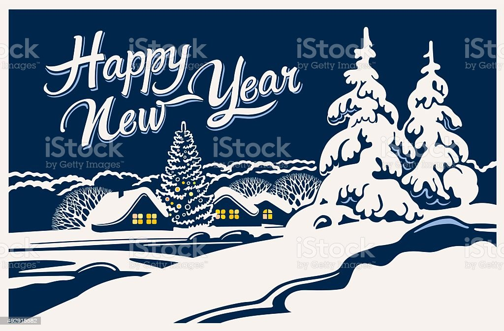 Winter rural landscape. vector art illustration