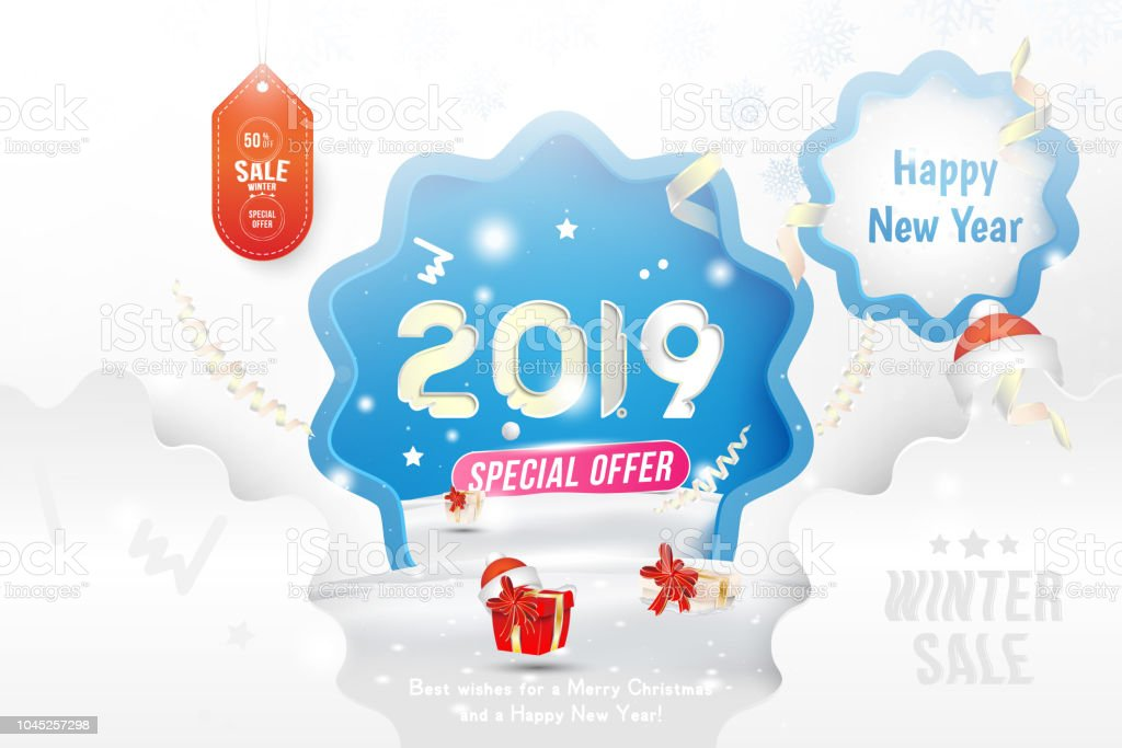 winter sale 50 off happy new year 2019 greeting card template with