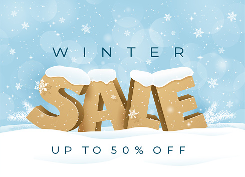 Winter Sale background special offer with snowflakes.
