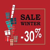 Winter sale background with black letters,gifts and snowflakes.  Vector