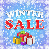 Winter sale background with red letters,gifts and snow