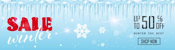 verkauf banner design gefrorenen eiszapfen wintersaison einkaufen vorlage sonderrabatt angebot konzept horizontale plakat flach - eiszapfen stock-grafiken, -clipart, -cartoons und -symbole